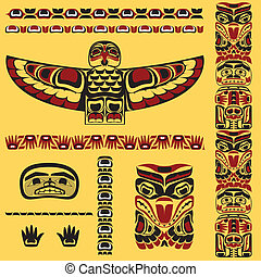 Canadian native art elements in vector