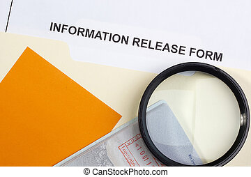 Information Release Form - Directly above photograph of an...
