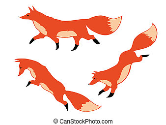three red foxes in motion on a white background