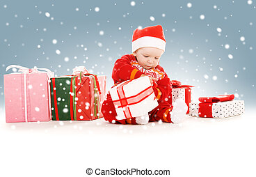santa helper baby with christmas gifts - picture of santa...