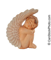 Sleeping Cherub Angel - Cupid angel statue with copy space I...