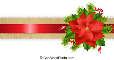 Old Paper Divider With Red Ribbon Poinsettia With Gradient...