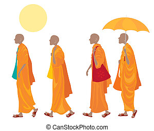 buddhism - an illustration of a four buddhist monks walking...