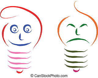 happy and sad bulb - bulb happy and sad funny concept...