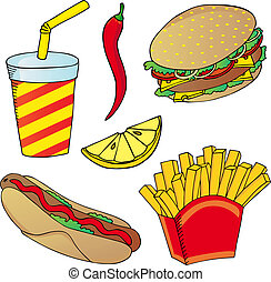 Various fast food collection 02 - vector illustration.