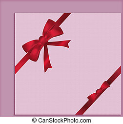 Greeting card with red ribbon and bow on pink background. Illustration