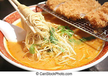 Ramen Noodles with Steaming Hot Soup - Ramen Noodles with...