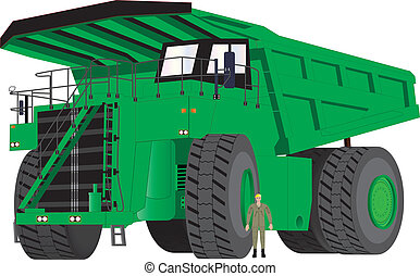 Green Dumper Truck - A Giant Green Dumper Truck with man as...