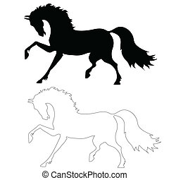 the black horse in motion - the horse in motion on a white...