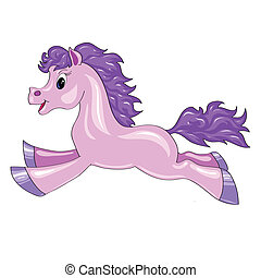 a small purple horse jumping in on a white background