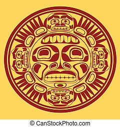 vector sun symbol, stylization of northwest art - vector sun...