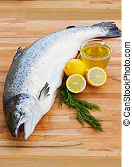 Atlantic Salmon Salmo solar whole isolated on a white studio...