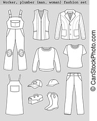 Worker, plumber man, woman fashion set isolated on grey...