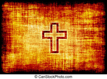 Christian Holy Cross Engraved on Parchment Background