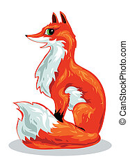 Red fox - red Fox sits on a white background
