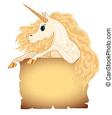 Background with old paper and a unicorn