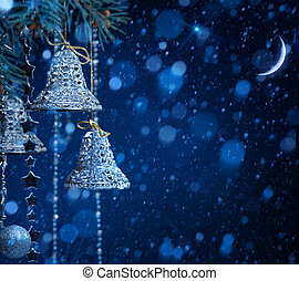 art snow christmas decoration on blue background - christmas...