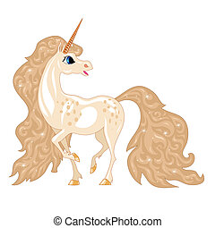magic horse - magical horse with a horn and shiny wavy mane...