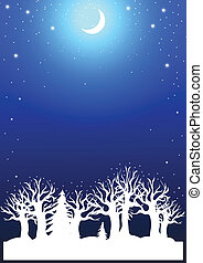 Christmas background with winter forest moon and snow