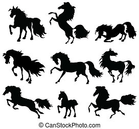 silhouettes of horses in motion on a white background