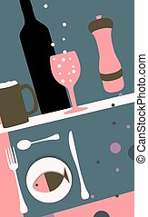 Abstract Dining - Abstract Illustration of food and drink