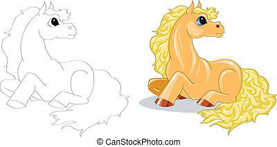 cartoon horse - yellow cartoon horse color and contour