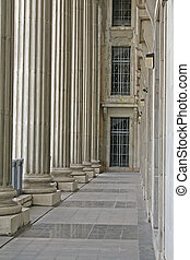 Law and Order Pillars in the Supreme Court during the day