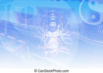 Asian Zen Soothing Abstract Collage Background in Blue