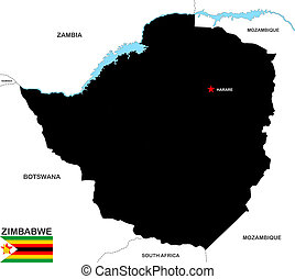 zimbabwe map - very big size zimbabwe black map with flag