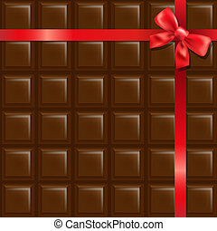 Chocolate With Red Bow With Gradient Mesh, Vector...