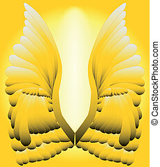 Golden Wings - A large pair of golden angelic wings