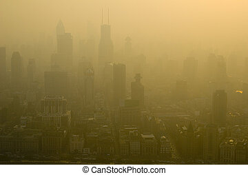 Smoggy Shanghai - The smoggy late afternoon skies of...