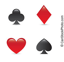 playing cards symbols - paying cards symbols over white...