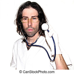 doctor - mad doctor uses a stethoscope