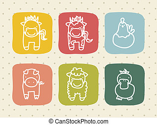 farm animals over beige background vector illustration