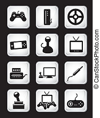 video game icons over black background vector illustration