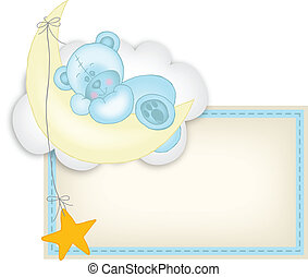 Baby boy label teddy bear sleeping - Scalable vectorial...