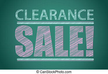 Clearance sale words written on the chalkboard illustration...