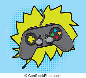 gamepad over cartoon background, hand drawing vector...