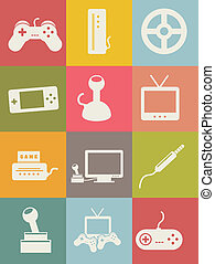 video game icons, vintage style. vector illustration