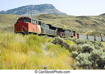 Freight Train - A freight train is passing through the...