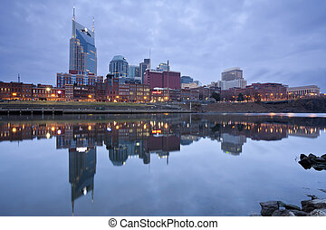 Nashville - Image of Nashville, Tennessee during twilight...