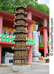 buddhist temple - several buddhist temple statues and...