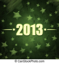 year 2013 over green retro background with stars