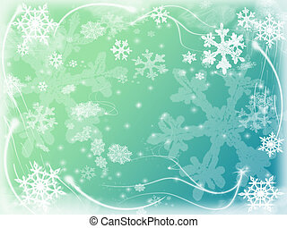 winter background with snowflakes in blue