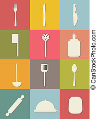 cutlery icons - black cutlery icons over white background...