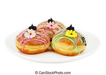 Sufganiyot - donuts with flowers - Sufganiyot - donuts for...