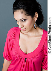 pink fire latina - a young latina looking hot in a pink...