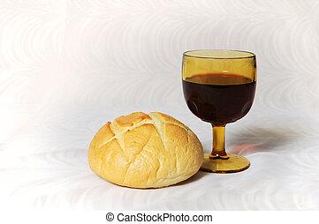 Communion Bread and Wine - Communion represented by bread...