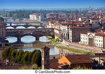 Italy. Florence. View of the city on top